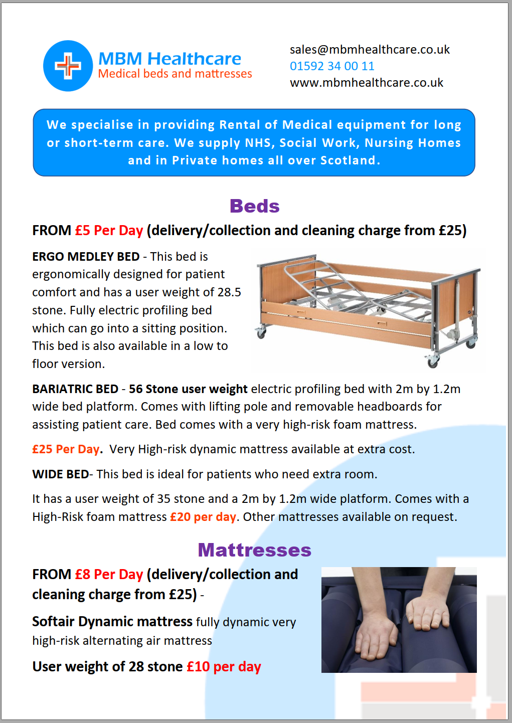Image preview of medical bed and mattress flyer